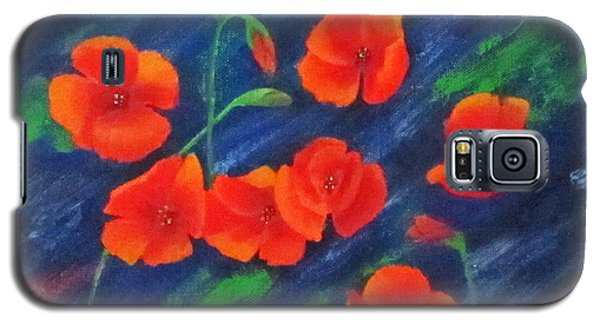 Poppies In Abstract Galaxy S5 Case by Roseann Gilmore