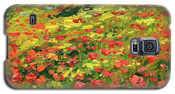 Galaxy S5 Case featuring the painting Poppies Near The Village by Dmitry Spiros
