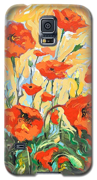 Galaxy S5 Case featuring the painting Poppies On A Yellow            by Dmitry Spiros