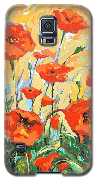 Poppies On A Yellow            Galaxy S5 Case by Dmitry Spiros