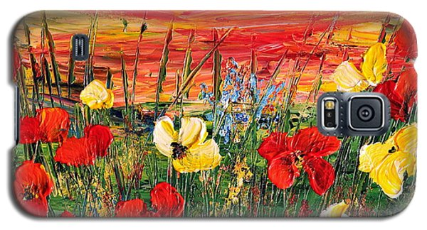 Galaxy S5 Case featuring the painting Poppies by Teresa Wegrzyn