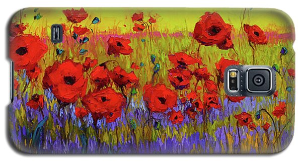 Poppy Flower Field Oil Painting With Palette Knife Galaxy S5 Case