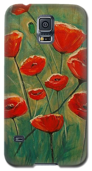 Galaxy S5 Case featuring the painting Poppy Surprise by Leslie Allen