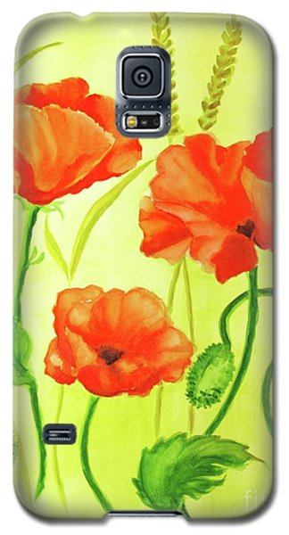 Galaxy S5 Case featuring the painting Poppy Trio by Inese Poga