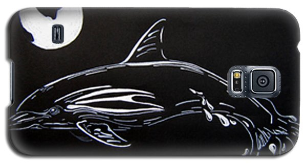 Galaxy S5 Case featuring the drawing Porpoise Sillhouette by Mayhem Mediums