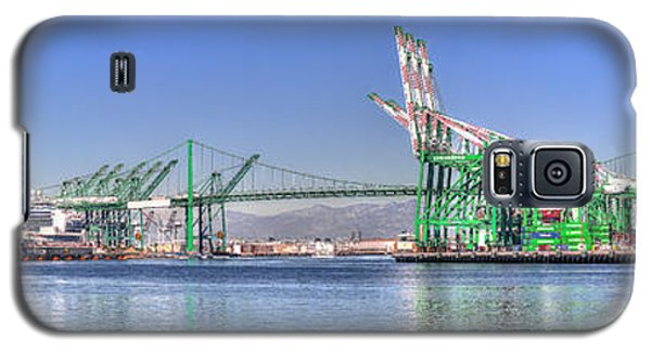 Galaxy S5 Case featuring the photograph Port Of Los Angeles - Panoramic by Jim Carrell