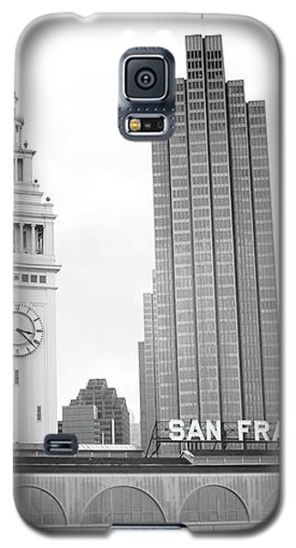 Galaxy S5 Case featuring the mixed media Port Of San Francisco Black And White- Art By Linda Woods by Linda Woods