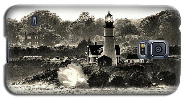 Portland Head Light At Cape Elizabeth In Black And White Galaxy S5 Case