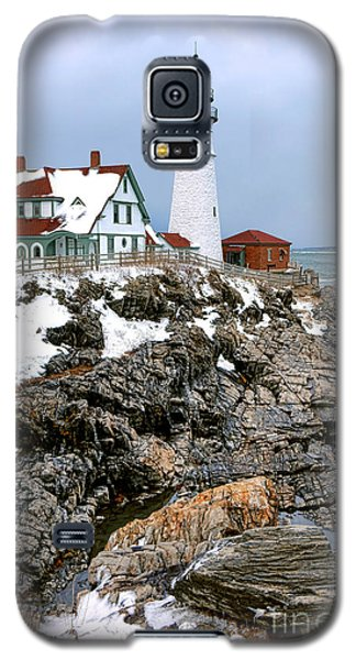 Galaxy S5 Case featuring the photograph Portland Head Light In Winter by Olivier Le Queinec