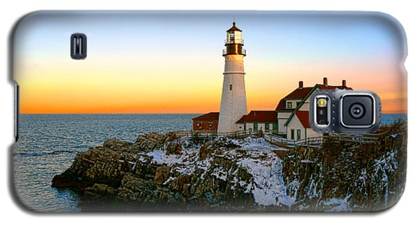 Galaxy S5 Case featuring the photograph Portland Head Light Winter Sunset by Olivier Le Queinec
