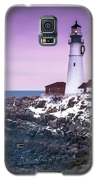 Maine Portland Headlight Lighthouse In Winter Snow Galaxy S5 Case