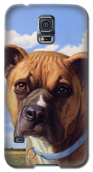 Galaxy S5 Case featuring the painting Portrait Of A Sweet Boxer by James W Johnson