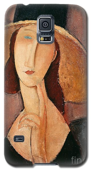 Portraits Galaxy S5 Case - Portrait Of Jeanne Hebuterne In A Large Hat by Amedeo Modigliani