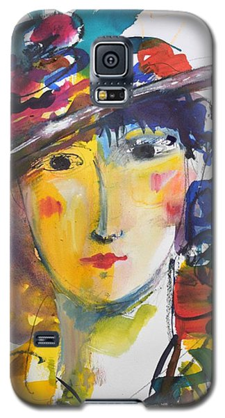 Portrait Of Woman With Flower Hat Galaxy S5 Case