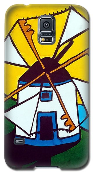 Galaxy S5 Case featuring the painting Portuguese Singing Windmill By Dora Hathazi Mendes by Dora Hathazi Mendes