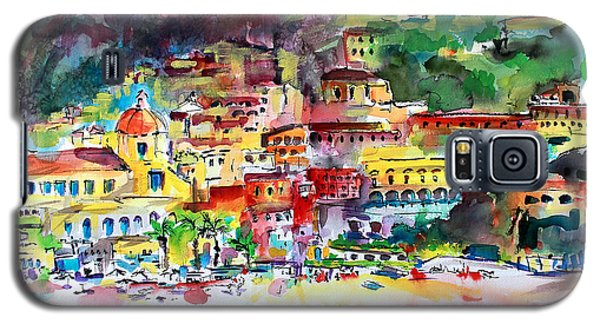 Amalfi Coast Positano Summer Fun Watercolor Painting Galaxy S5 Case
