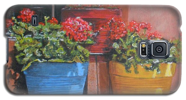 Galaxy S5 Case featuring the painting Pots Of Geraniums by Betty-Anne McDonald