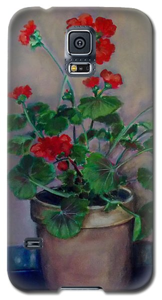 Galaxy S5 Case featuring the painting Potted Geranium by Irena Mohr