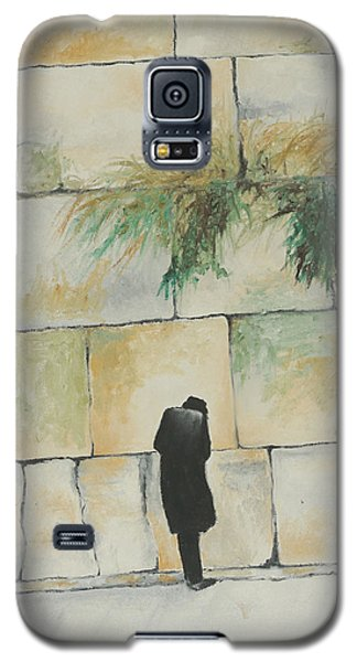 Galaxy S5 Case featuring the painting Praying At The Western Wall by Miriam Leah