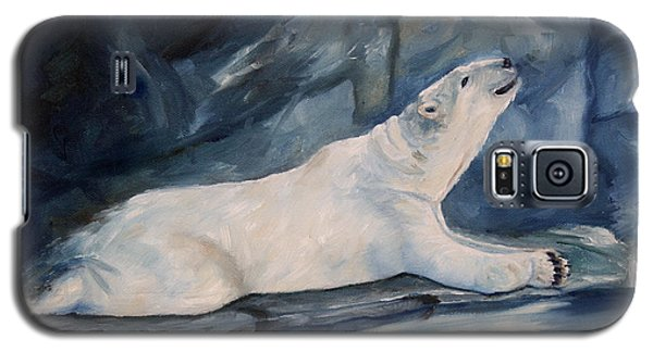 Galaxy S5 Case featuring the painting Praying Polar Bear Original Oil Painting by Brenda Thour