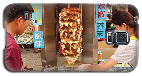 Galaxy S5 Case featuring the photograph Preparing Shawarma Meat In Bread Buns by Yali Shi