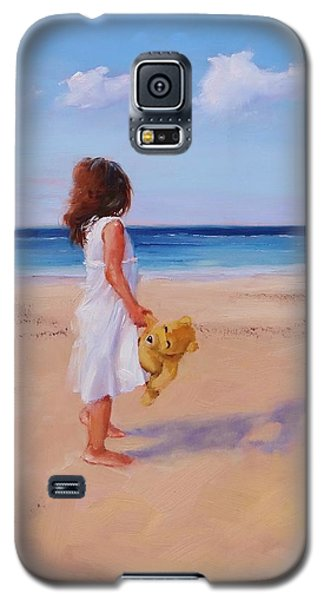 Galaxy S5 Case featuring the painting Precious Moment by Laura Lee Zanghetti