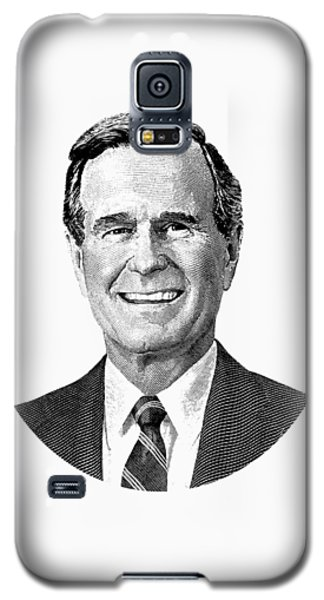 President George H. W. Bush Graphic Black And White Galaxy S5 Case by War Is Hell Store