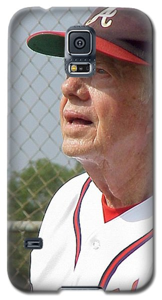 Galaxy S5 Case featuring the photograph President Jimmy Carter - Atlanta Braves Jersey And Cap by Jerry Battle