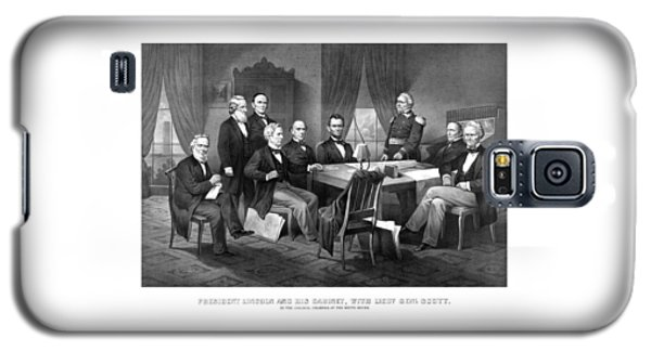 President Lincoln His Cabinet And General Scott Galaxy S5 Case by War Is Hell Store