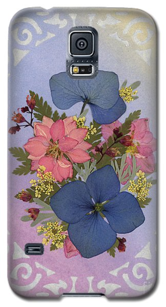Pressed Flowers Arrangement With Pink Larkspur And Hydrangea Galaxy S5 Case