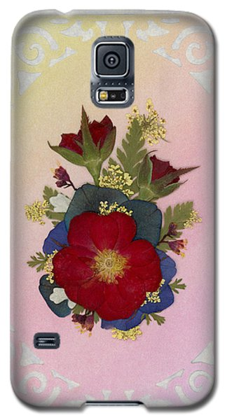 Pressed Flowers Arrangement With Red Roses Galaxy S5 Case