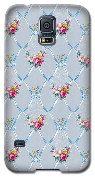 Galaxy S5 Case featuring the digital art Pretty Blue Ribbons Rose Floral Vintage Wallpaper by Tracie Kaska
