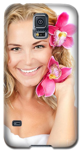 Pretty Girl With Pink Flowers Galaxy S5 Case