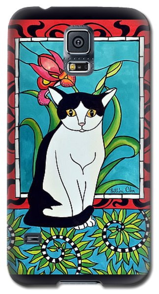 Galaxy S5 Case featuring the painting Pretty Me In Tuxedo by Dora Hathazi Mendes