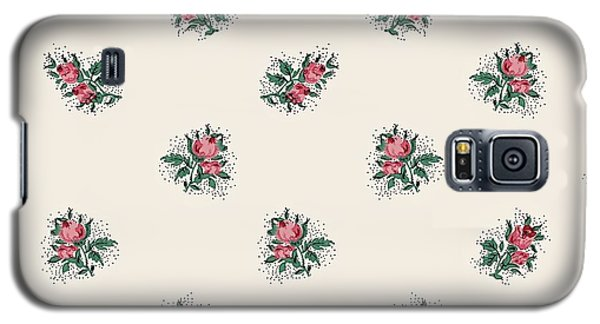 Galaxy S5 Case featuring the digital art Pretty Pink Roses Girly Vintage Wallpaper Pattern by Tracie Kaska