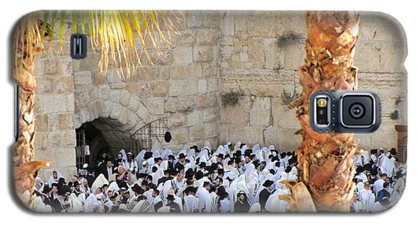 Galaxy S5 Case featuring the photograph Prayer Of Shaharit At The Kotel During Sukkot Festival by Yoel Koskas