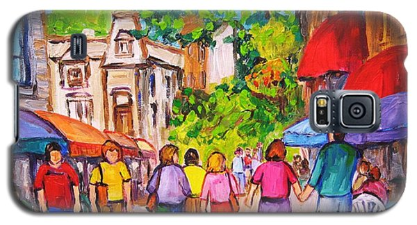 Galaxy S5 Case featuring the painting Prince Arthur Street Montreal by Carole Spandau