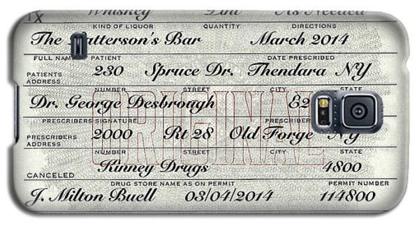 Galaxy S5 Case featuring the photograph Prohibition Prescription Certificate Personalized by David Patterson