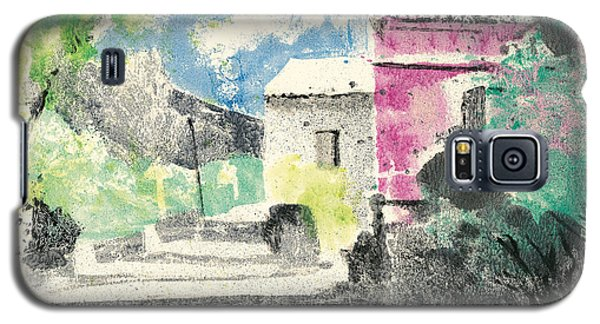 Galaxy S5 Case featuring the painting Provence Landscape Village Cucuron by Martin Stankewitz