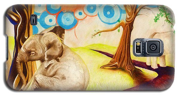 Galaxy S5 Case featuring the drawing Psychedelic Elephants by Shawna Rowe