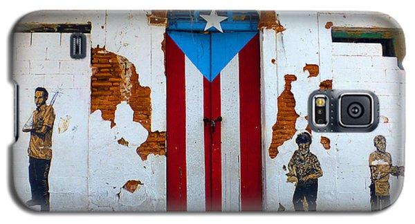 Puerto Rican Flag On Wooden Door Galaxy S5 Case