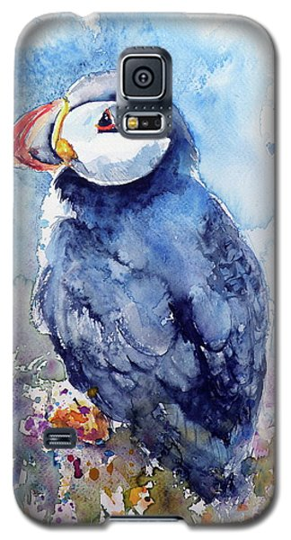 Puffin With Flowers Galaxy S5 Case by Kovacs Anna Brigitta