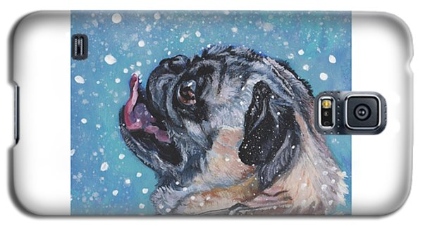 Galaxy S5 Case featuring the painting Pug In The Snow by Lee Ann Shepard