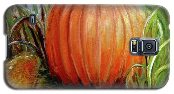 Galaxy S5 Case featuring the painting Pumpkin Patch  by Bernadette Krupa