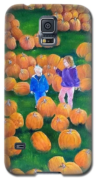 Galaxy S5 Case featuring the painting Pumpkin Patch by Ellen Canfield