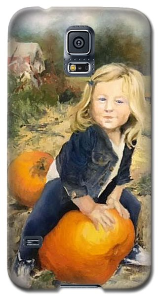 Galaxy S5 Case featuring the painting Pumpkin Patch by Lori Ippolito