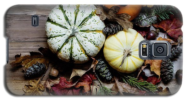 Galaxy S5 Case featuring the photograph Pumpkins And Leaves by Rebecca Cozart