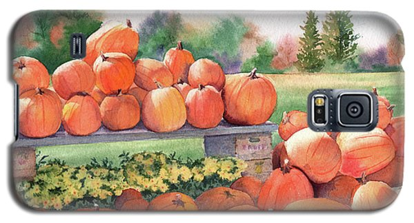 Galaxy S5 Case featuring the painting Pumpkins For Sale by Vikki Bouffard