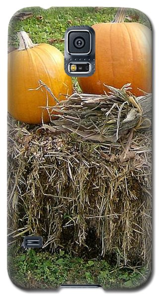 Galaxy S5 Case featuring the photograph Pumpkins On A Haystack by Skyler Tipton