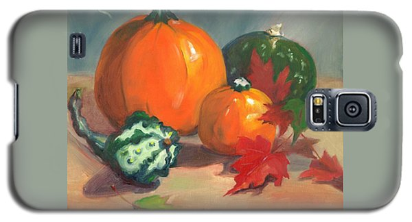 Galaxy S5 Case featuring the painting Pumpkins by Susan Thomas